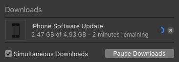 screen grab of iOS update window